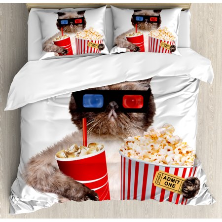 Movie Theater Decor Queen Size Duvet Cover Set  Cat With Popcorn And Drink Watching Movie Glasses Entertainment Cinema  Decorative 3 Piece Bedding Set With 2 Pillow Shams  Multicolor  By Ambesonne