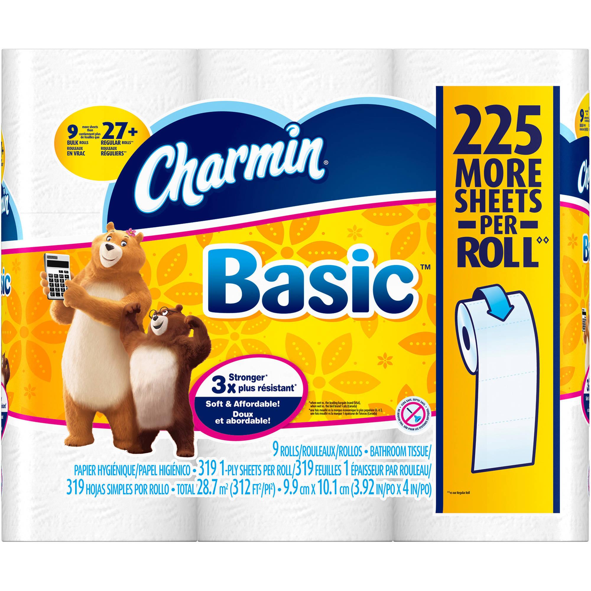 Charmin Basic 1-Ply Toilet Paper Bulk Rolls, 319 sheets, 9 rolls