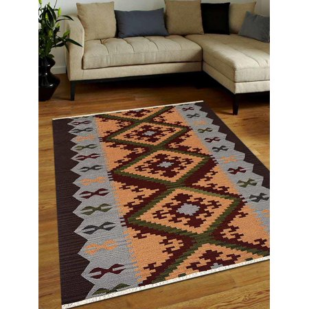 Rugsotic Carpets Hand Woven Flat Weave Kilim Wool 5'x8' Area Rug Contemporary Multicolor D00137 ()