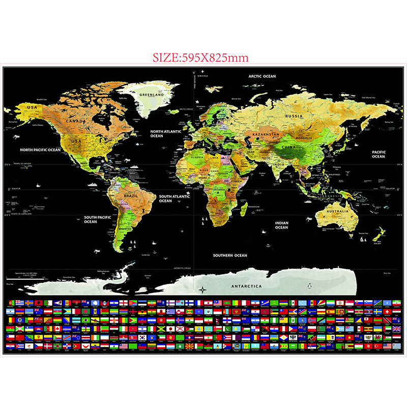 Scratch Off World Map, Personalized Travel Tracker Map Rub Off Coin Scratchable Wall Poster Unique Gift & Decor for Travel Enthusiasts