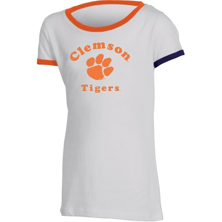 Girls Youth Russell White Clemson Tigers Ringer
