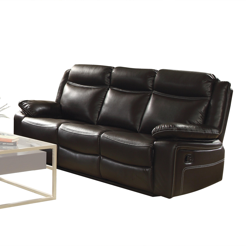 Acme Corra Reclining Sofa In Espresso Faux Leather