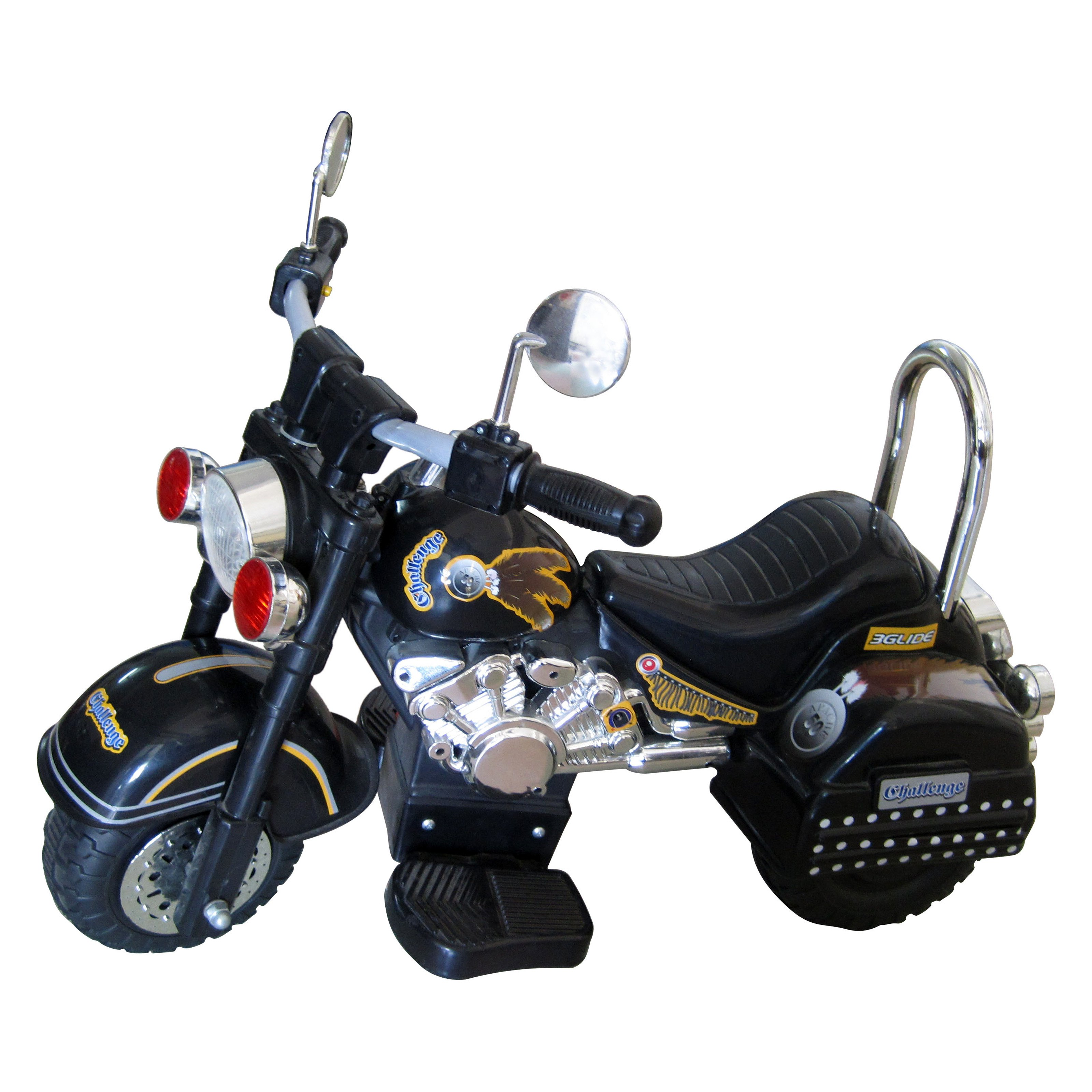 Merske Harley Style Motorcycle Battery Powered Riding Toy Black by Overstock