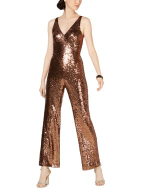 Nightway Womens Petites Sequined V-Neck Jumpsuit