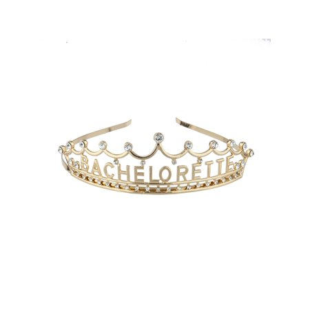 Lux Accessories Gold Tone Princess Bachelorette Party Crystals Head Crown - Bachelorette Accesories
