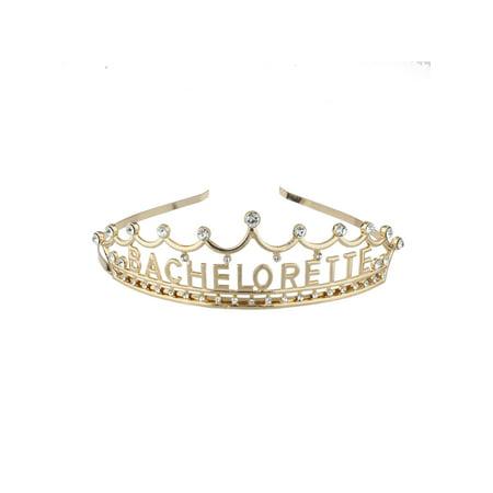 Lux Accessories Gold Tone Princess Bachelorette Party Crystals Head Crown - Bachelorette Party Accessories