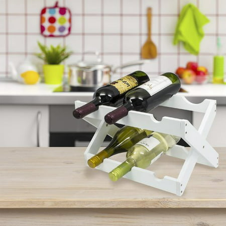 Countertop Collapsible Bamboo Wood Wine Rack Holds 6 Bottles