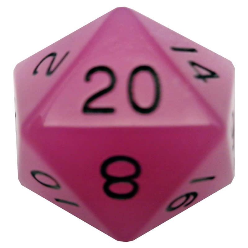 Purple Glow In The Dark Acrylic Die Black Numbers D20 35mm (1.38in) Pack of 1 Metallic Dice Games