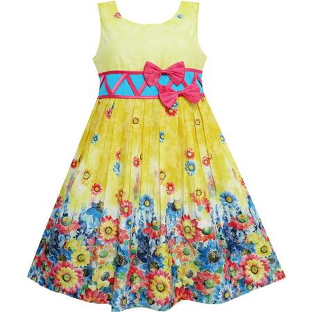 Sunny Fashion Girls Dress Sunflower Garden Flower Print Cotton Yellow Size 4 12