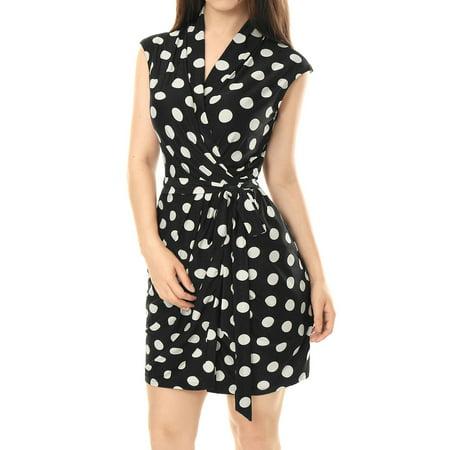 Women Wrap Dress Sleeveless Tie Waist Above Knee Polka Dots Wrap Dress - Faux Wrap Tie Waist Dress