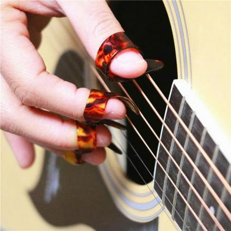 3 Finger Picks 1 Thumb Pick Plectrums Guitar Plastic Set New for Beginner Gift
