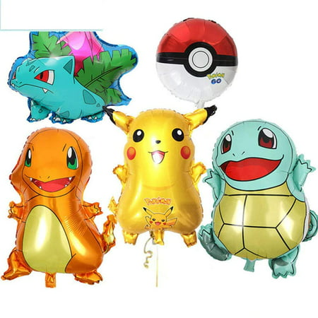 Large Pokemon, Pikachu & Friends Birthday Party Balloons, 5-Pack