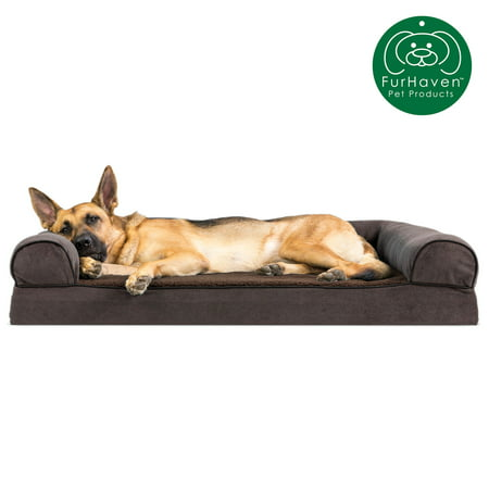 FurHaven Pet Dog Bed | Memory Foam Faux Fleece & Chenille Couch Sofa-Style Pet Bed for Dogs & Cats, Coffee, Jumbo Caddis Cat Bed