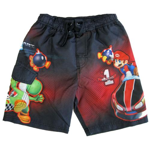 Little Boys Grey Red Karting Themed Swimwear Shorts 4