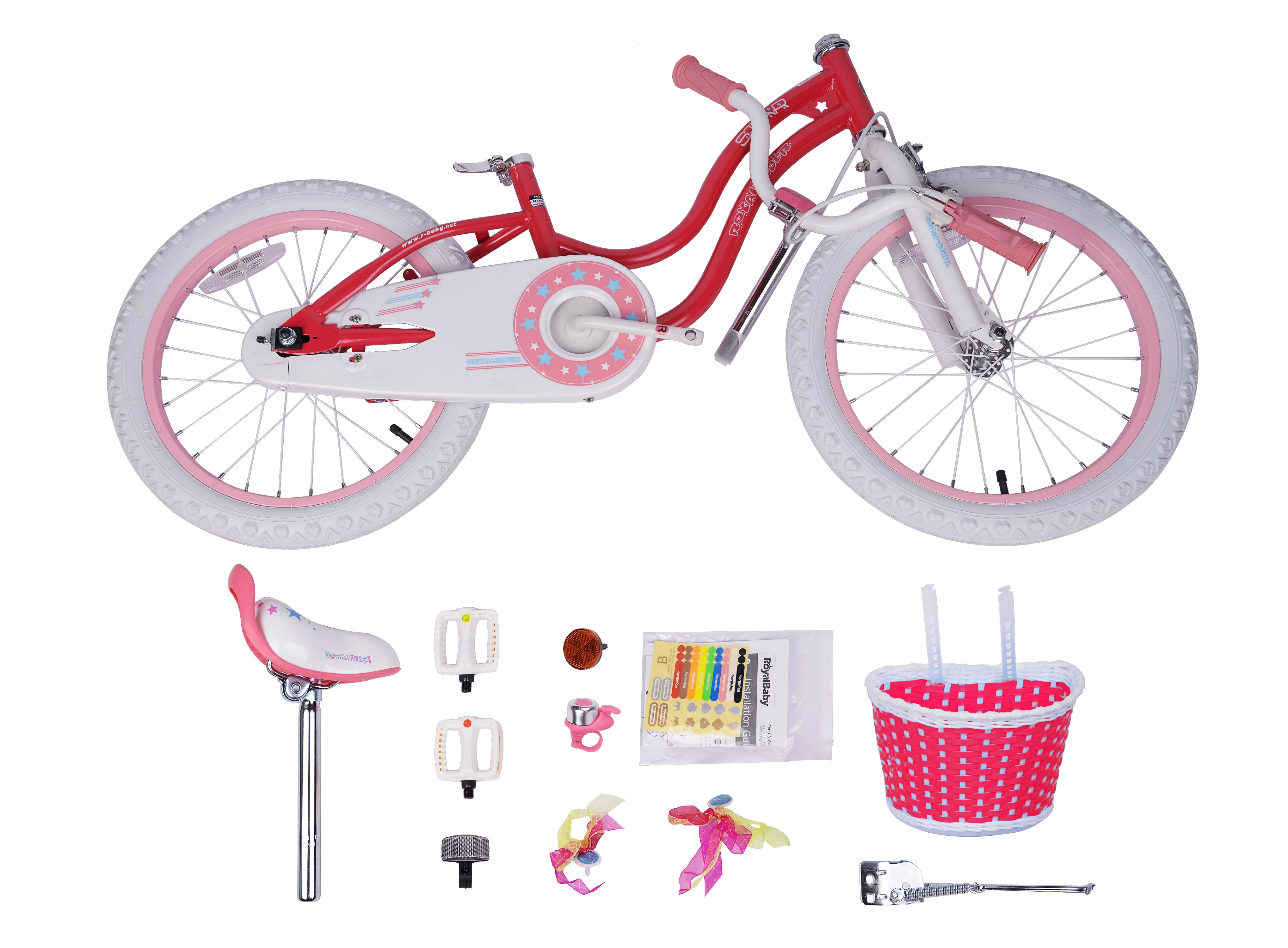 Pink Detachable Bike Bicycle With Basket For  Doll House Toy Accessor JB