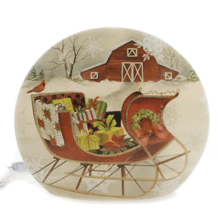 Creek Sleigh (Stony Creek SLEIGH LIGHTED ROUND VASE Glass Barn Gifts Quilt Clh8242 )