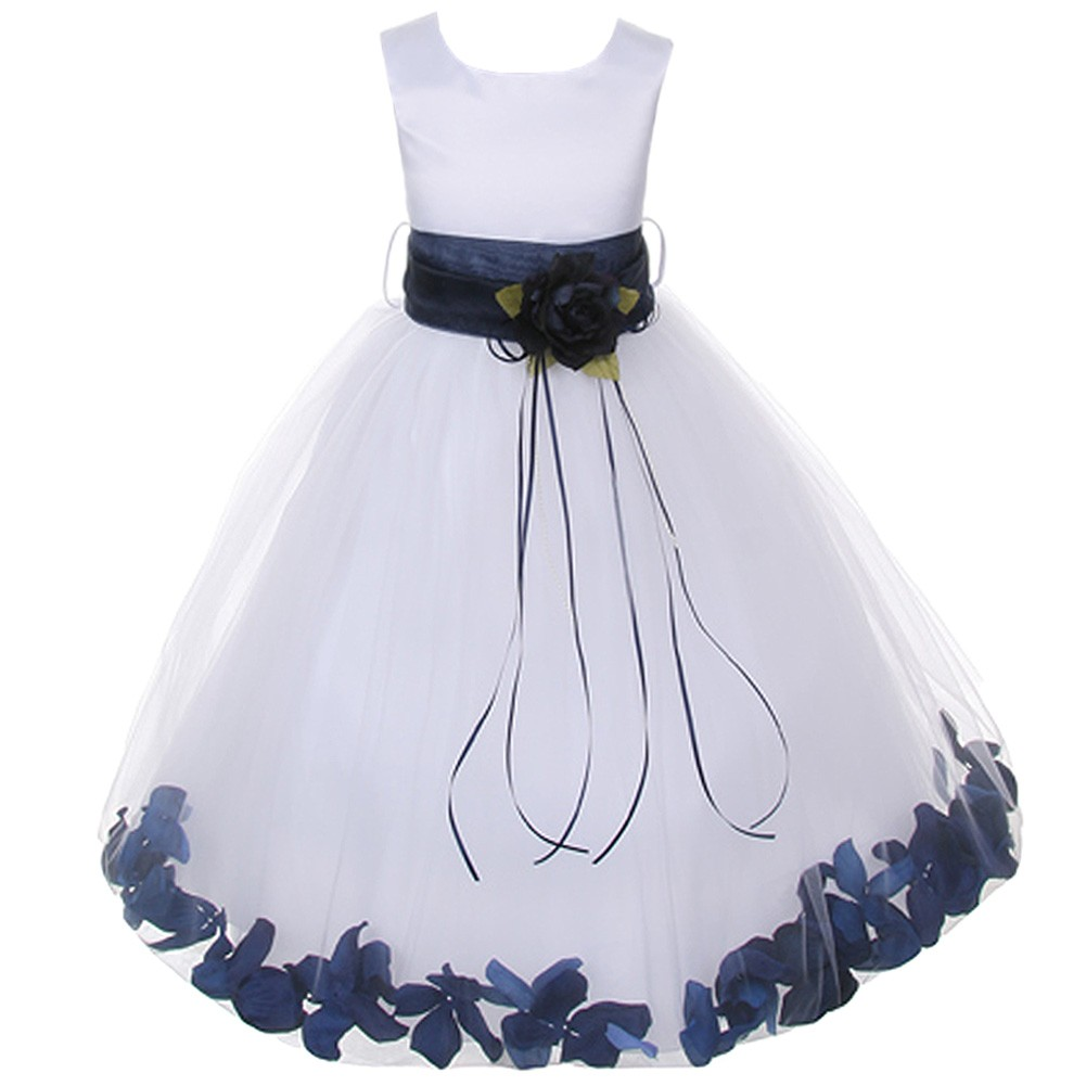 Kids Dream Girls White Satin Navy Floating Petal Flower Girl Dress 8