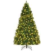 Costway 7Ft/7.5Ft/8Ft Pre-Lit PVC Christmas Tree Hinged 300/400/430 Lights