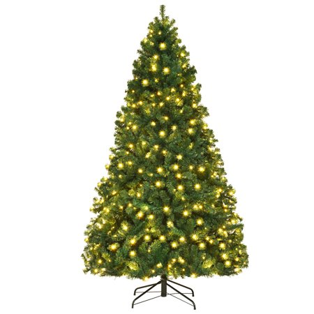 Costway 7Ft/7.5Ft/8Ft Pre-Lit PVC Christmas Tree Hinged 300/400/430 Lights ()