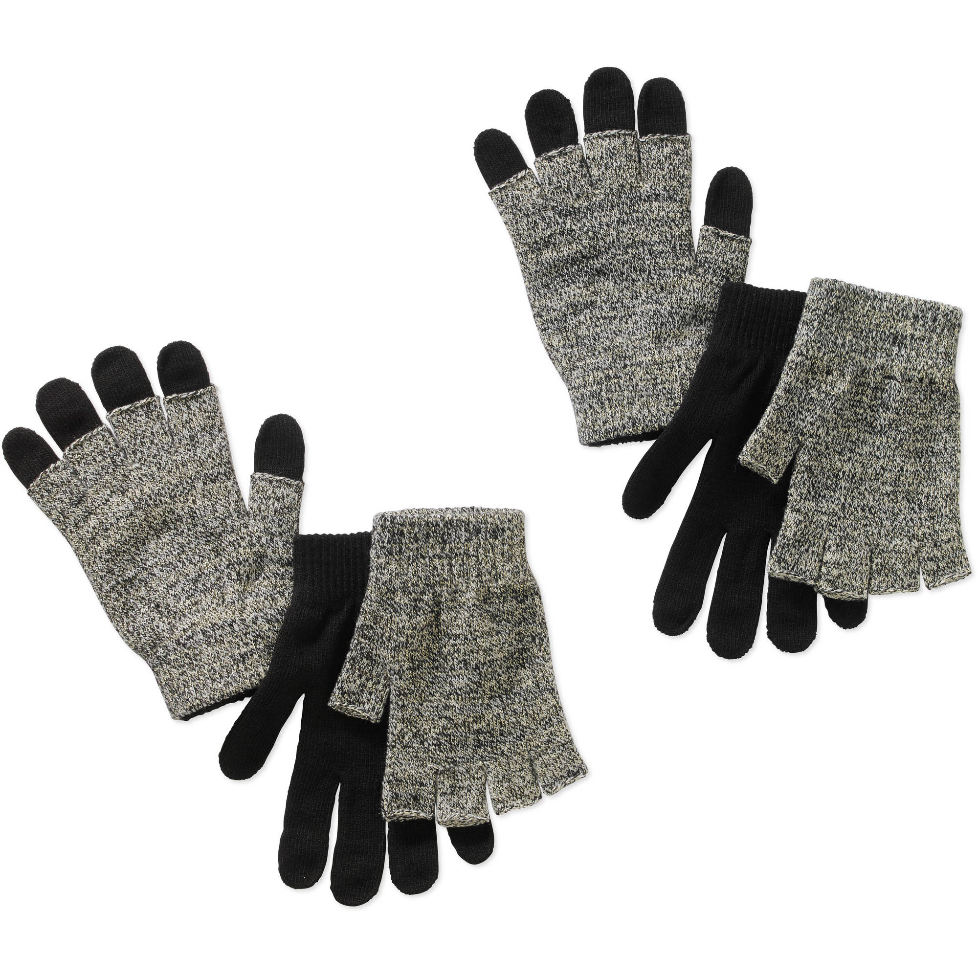 Women's 3 in 1 Lurex gloves 2 pairs, 4 Piece Set