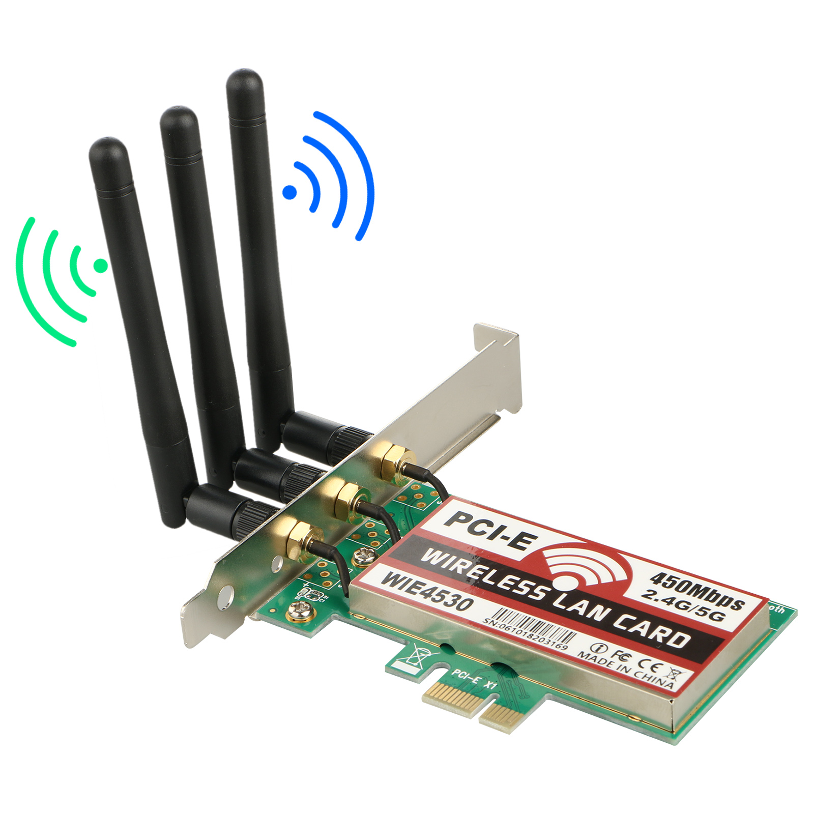 TSV 450Mbps PCI -E WiFi wireless Card Adapter Antennas for Desktop Laptop PC US