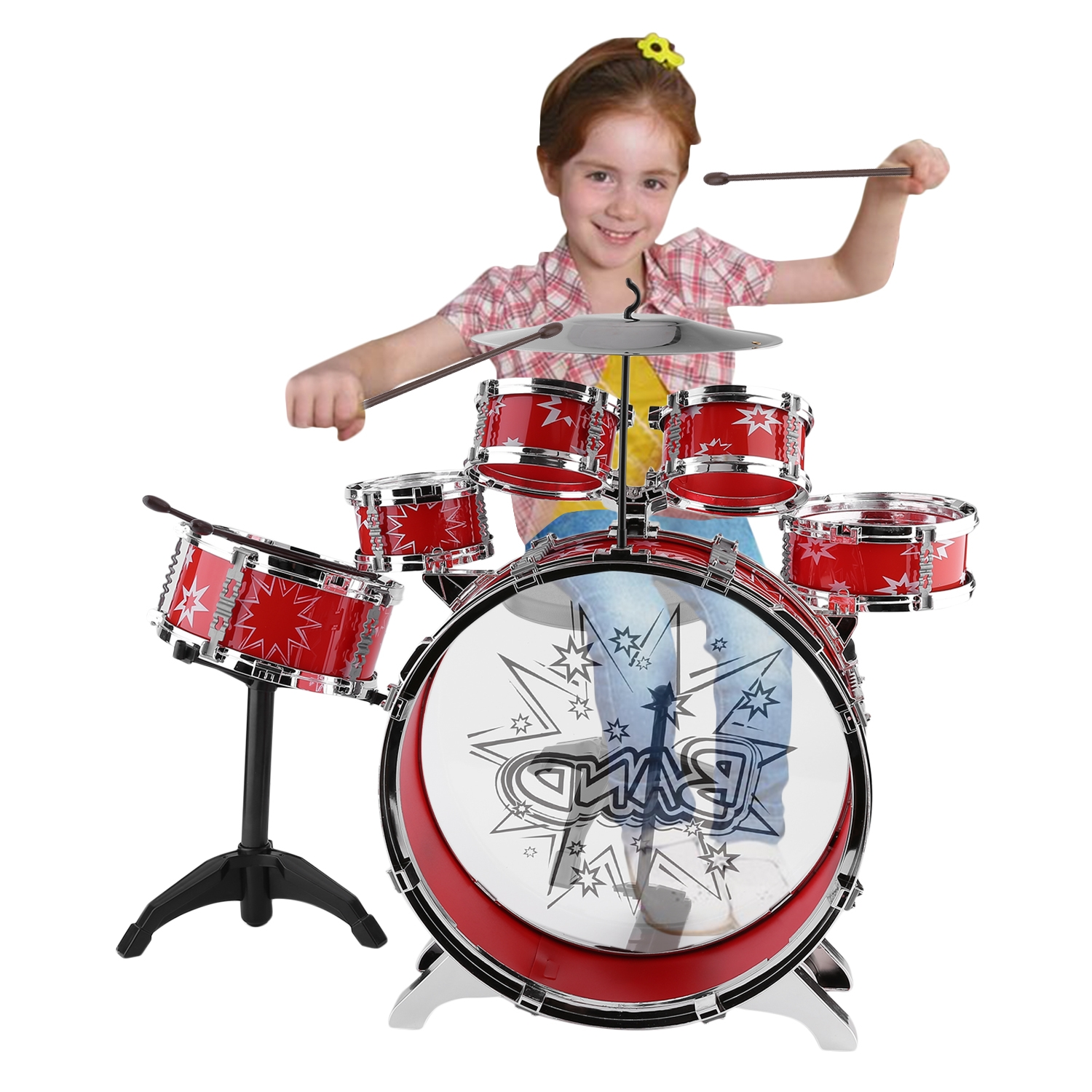 CNMODLE Kids Junior Drum Kit Children Tom Drums Cymbal Stool Drumsticks Set Musical... by LESHP