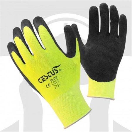 cestus 6116 l pro series ns grip nitrite dipped work one pair glove, lime green - large