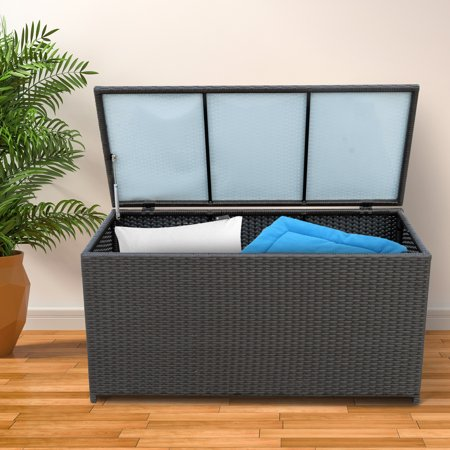 47x21x23inch Outdoor Garden Rattan Storage Box Wicker Home Furniture Indoor Storing Unit with Lid Coffee - image 1 of 7