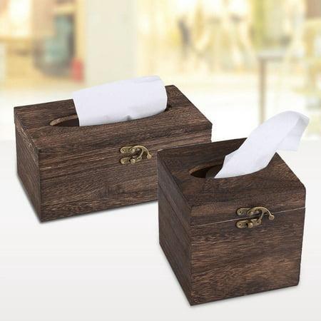 Retro Wooden Rectangular Paper Cover Case Tissue Box Napkin Holder Home Decor Crochet Tissue Cover