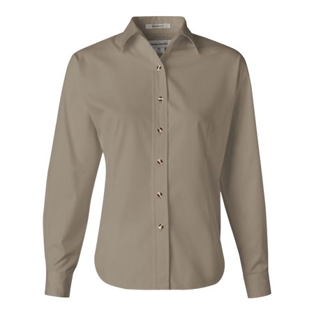 FeatherLite 5283 Women's Long Sleeve Stain-Resistant Tapered Twill Shirt - Sandalwood/ Stone - Large