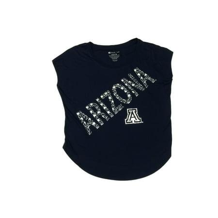 Arizona Wildcats Colosseum Womens Navy Metallic Stars Logo Ss Loose T Shirt  M