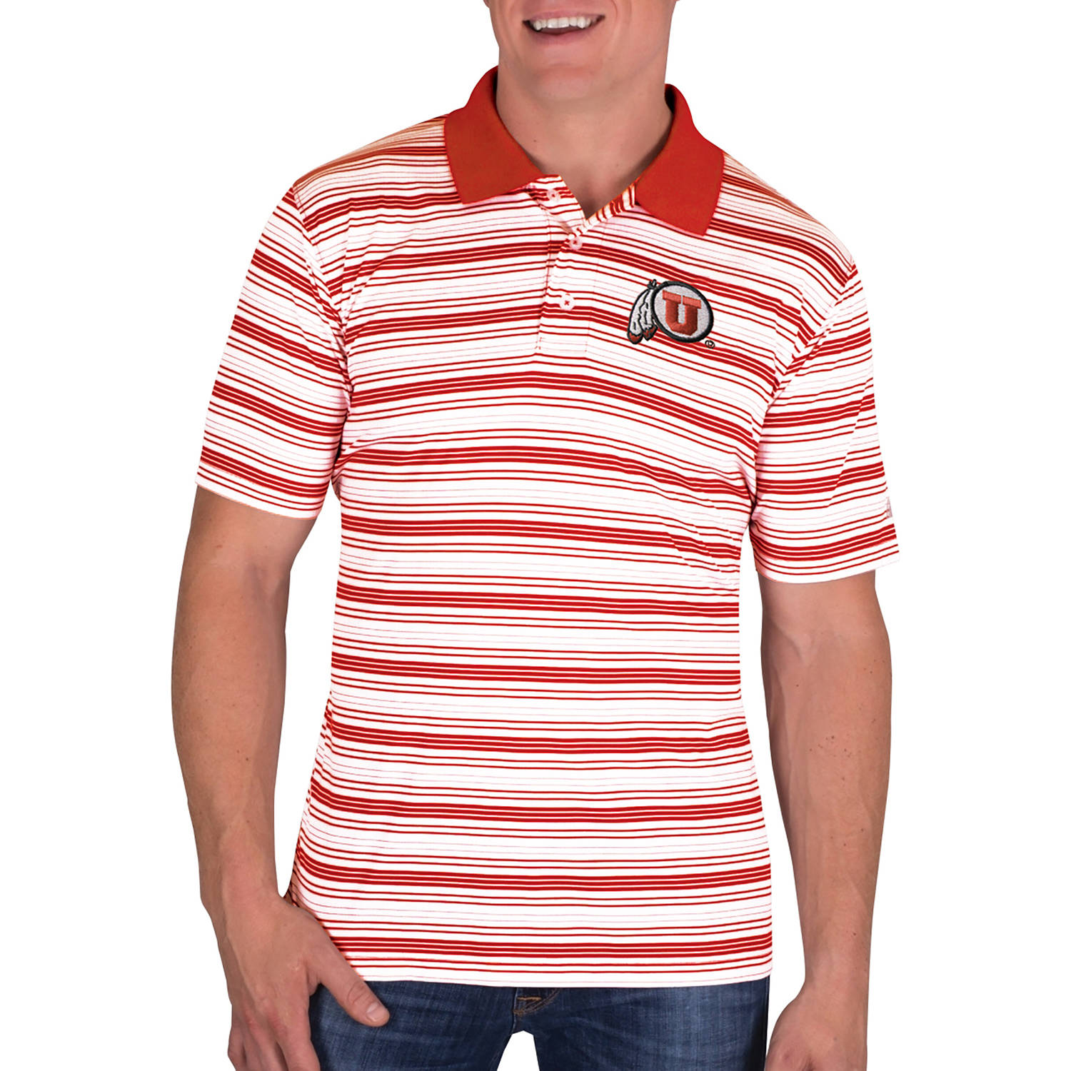 NCAA Utah Utes Men's Classic-Fit Striped Polo Shirt