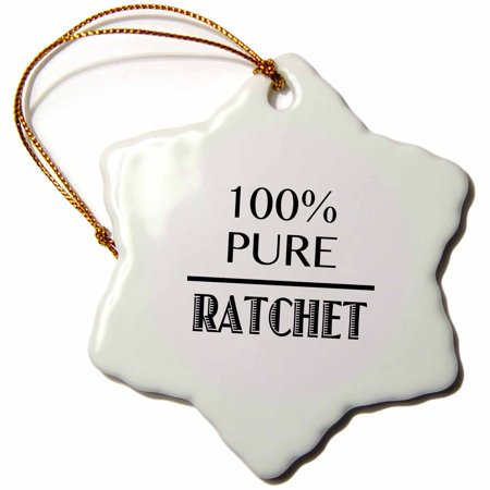 3dRose 100% pure ratchet - Snowflake Ornament, 3-inch