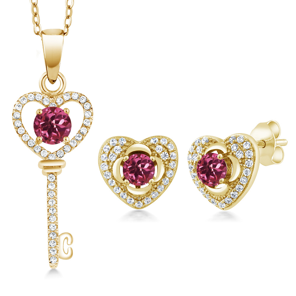 2.05 Ct Round Pink Tourmaline 18K Yellow Gold Plated Silver Pendant Earrings Set by