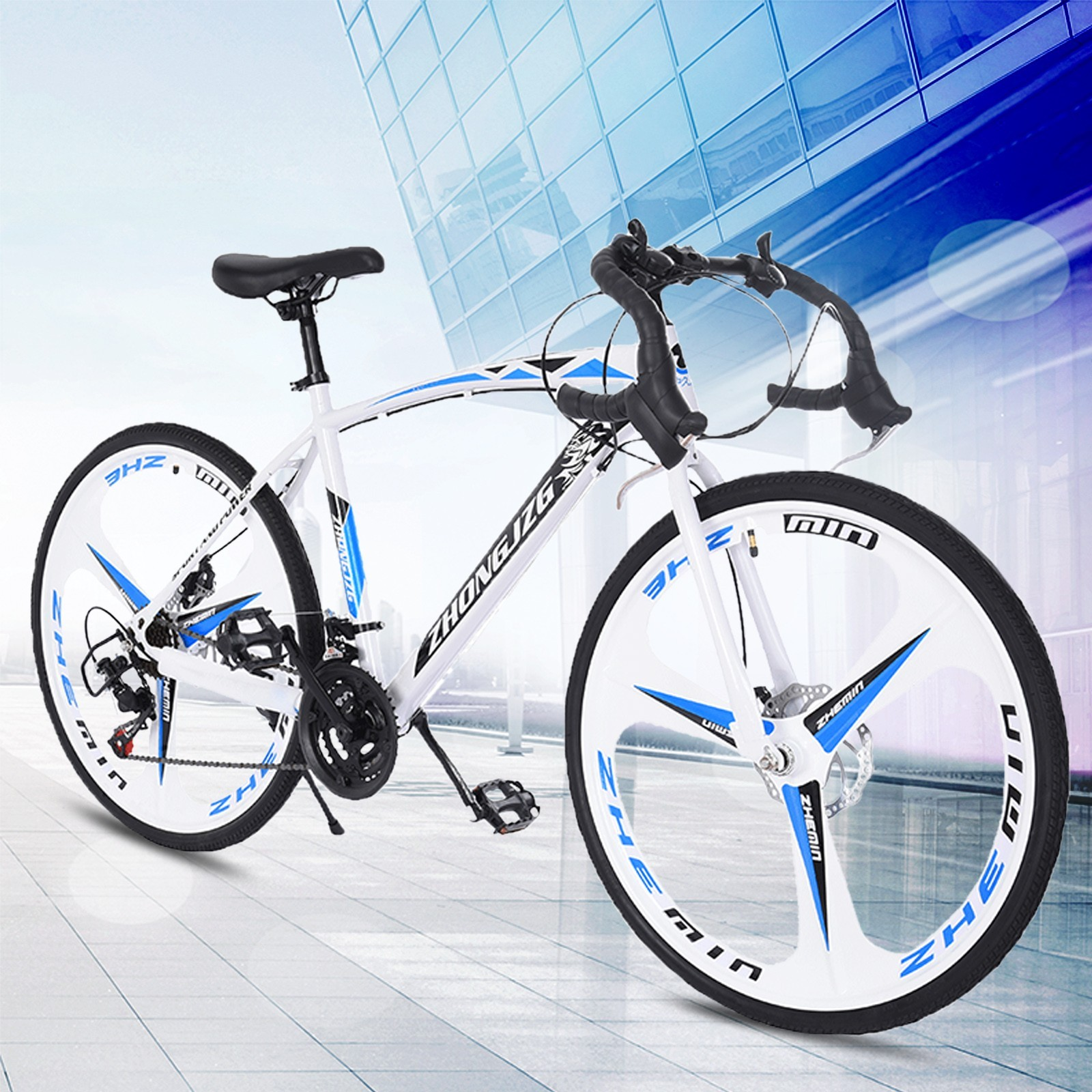 Details about  /Road Bike 21 Speed Mens Bikes 700C wheels Bicycle Disc Brakes 26in Upgraded