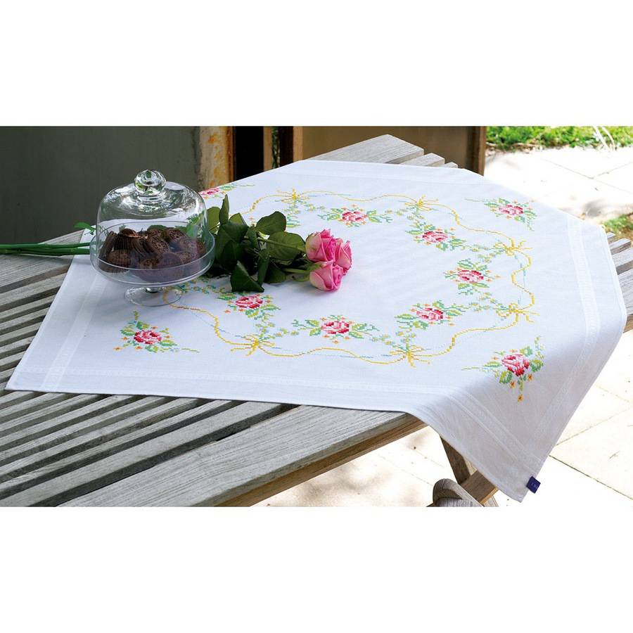 "Garland with Roses Tablecloth Stamped Embroidery Kit, 32"" x 32"""