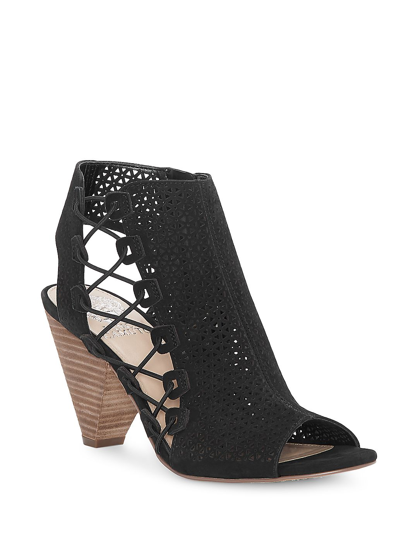 Elison Lacer-Cut Suede Cone Heel Booties