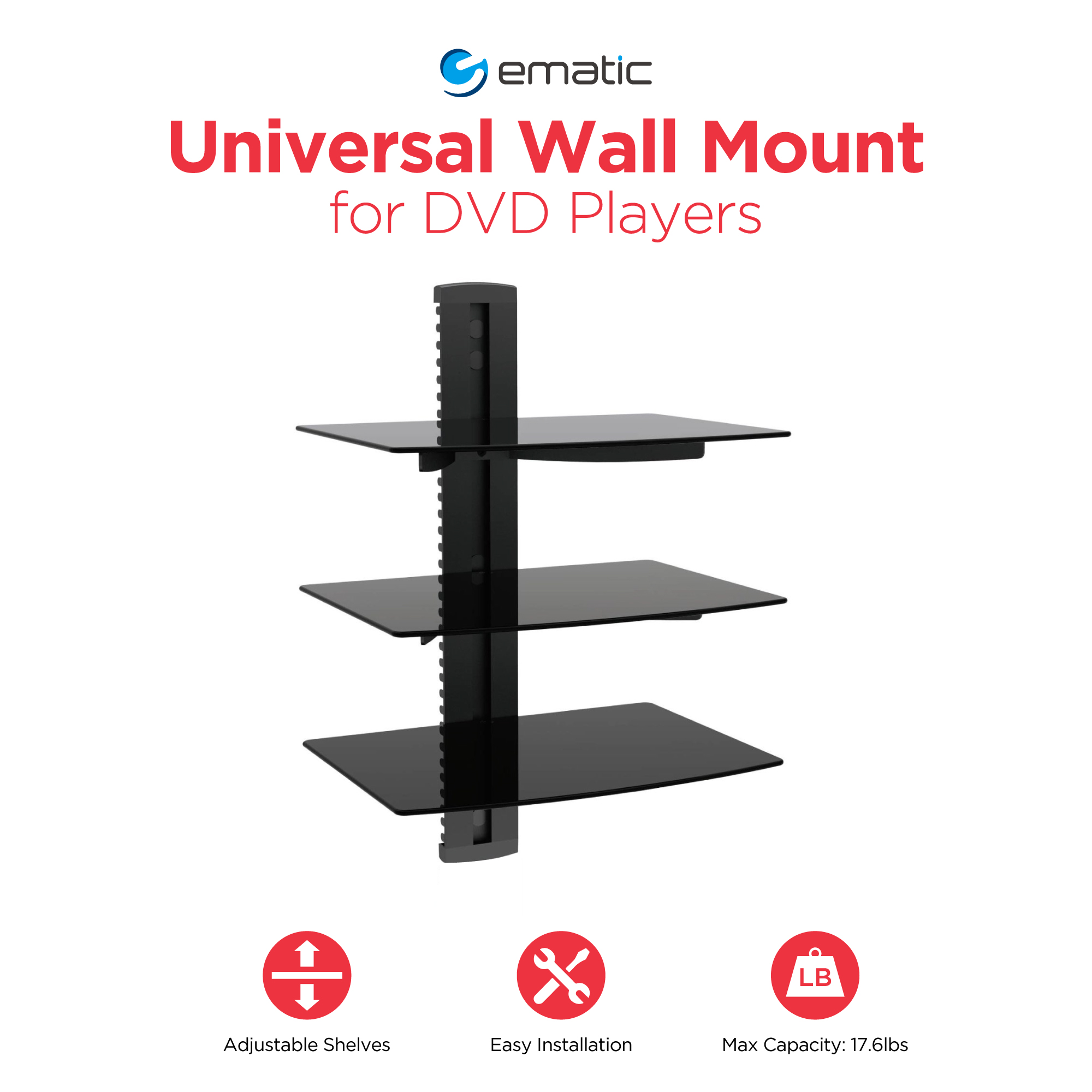 Ematic 3-Shelf DVD Player Wall Mount