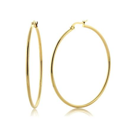 "2"" Stunning Stainless Steel Yellow Gold Plated Hoop Earrings (50mm Diameter)"