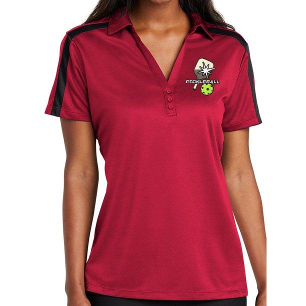 Womens Pickelball Polo Shirt - Red/Black, Small