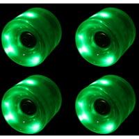 LED Skateboard Wheels 60MM GREEN Glow Cruiser Longboard LIGHTS + ABEC 9 BEARINGS
