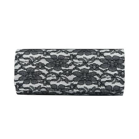 Elegant Lace Floral Fabric Flap Clutch Evening Bag