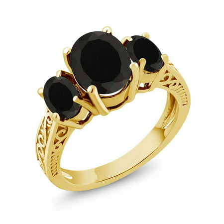 - 2.41 Ct Oval Black AAA Onyx 925 Yellow Gold Plated Silver 3-Stone Women's Ring