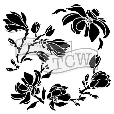 "Crafter's Workshop Template 6""X6""-Magnolia Blossoms - image 1 de 1"