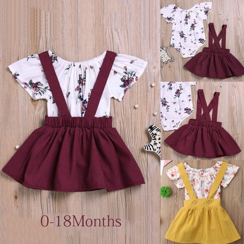 Baby Girls Ruffle Jumper Dress Suspender Skirts with Baby Girl Leggings Toddler Clothes Set