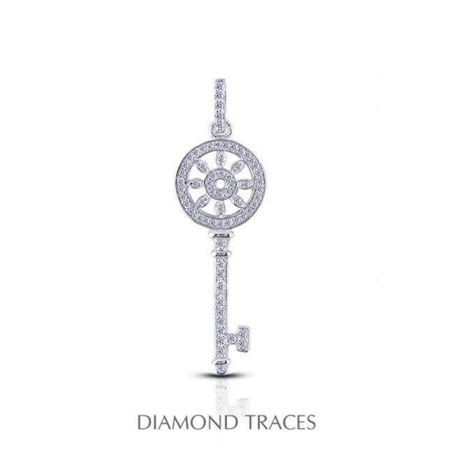 Diamond Traces UD-OS2920-3712 0. 56 Carat Total Natural Diamonds 14K White Gold Pave Setting Key Fashion Pendant