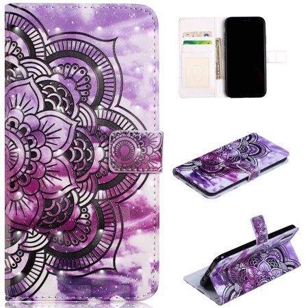 Halloween Iii 3d 2017 (iPhone X 2017 Case Wallet, iPhone XS 2018 Case, Allytech 3D Emboss Leather Protective Cover & Credit Card Slots Pocket, Support Kickstand Slim Case for Apple iPhone X/ XS (Purple)