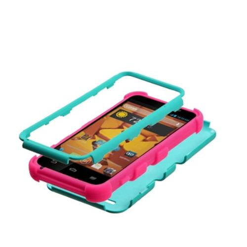 Insten Rubberized Teal Green/Electric Pink TUFF Hybrid Hard Shockproof Phone Case Cover For ZTE Warp LTE N9510