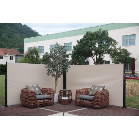 Abba Patio Retractable Double Folding Screen Fence Privacy Divider Beige
