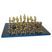 Renaissance Metal Chess Set on Blue Mother of Pearl Board